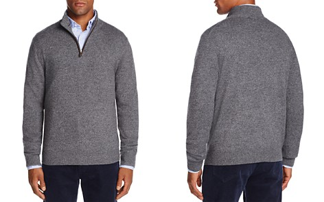 The Men's Store at Bloomingdale's Cashmere Suede Trim Half-Zip Sweater_2