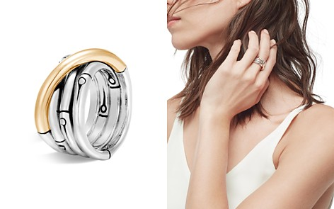 John Hardy Brushed 18K Yellow Gold and Sterling Silver Bamboo Ring - Bloomingdale's_2