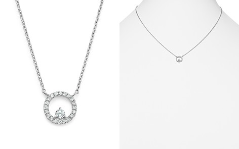 Diamond Circle Pendant Necklace in 14K White Gold, .20 ct. t.w. - 100% Exclusive - Bloomingdale's_2