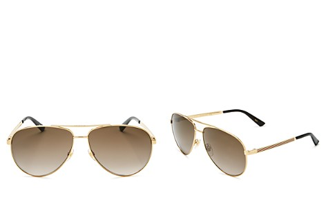 Gucci Women's Classic Pilot Aviator Sunglasses, 61mm - Bloomingdale's_2