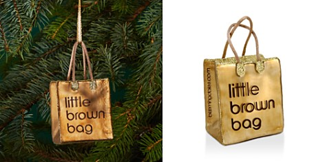 Joy to the World Bloomingdale's Little Brown Bag Glass Ornament - 100% Exclusive_2