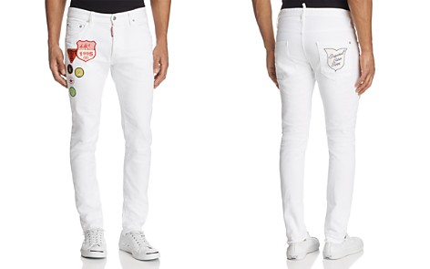 DSQUARED2 Dan Patched Skinny Fit Jean in White - Bloomingdale's_2