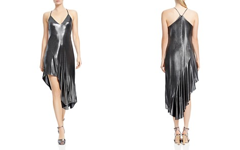 HALSTON HERITAGE Metallic Asymmetric-Skirt Dress - Bloomingdale's_2