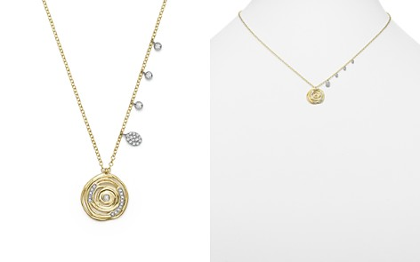 """Meira T 14K White and Yellow Gold Diamond Spiral Circle Disc Pendant Necklace, 18"""" - Bloomingdale's_2"""