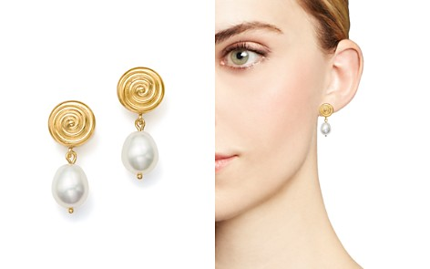 Bloomingdale's Cultured Freshwater Pearl and Spiral Drop Earrings in 14K Yellow Gold - 100% Exclusive_2