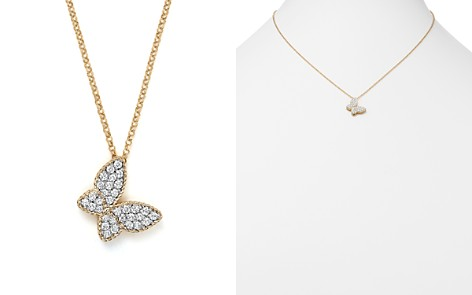 "Roberto Coin 18K Yellow Gold Tiny Treasures Princess Diamond Butterfly Necklace, 18"" - Bloomingdale's_2"
