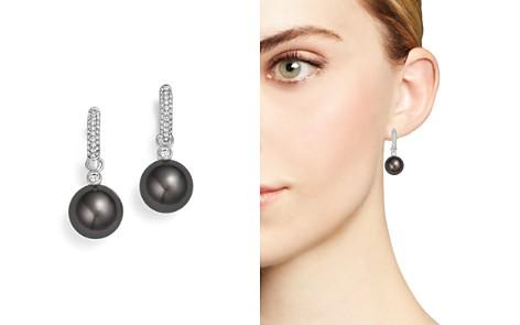 Tara Pearls 18k White Gold Cultured Tahitian Black Pearl Diamond Huggie Earrings Bloomingdale