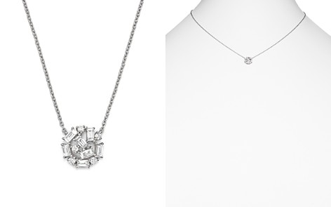 """KC Designs 14K White Gold Mosaic Diamond Cluster Necklace, 16"""" - Bloomingdale's_2"""