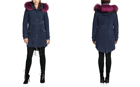 BAGATELLE.CITY Fur Trim Hooded Suede Parka - Bloomingdale's_2