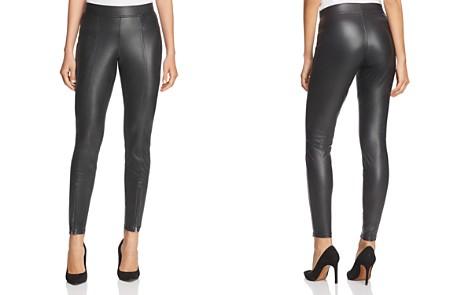 HUE Zip Hem Faux Leather Leggings - Bloomingdale's_2