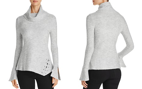 Heather B Cowl Neck Lace-Up Turtleneck Sweater - Bloomingdale's_2