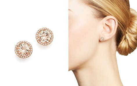 Bloomingdale's Morganite & Diamond Halo Stud Earrings in 14K Rose Gold - 100% Exclusive _2