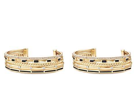 David Yurman Stax Color Cuff with Diamonds & Black Spinel in 18K Gold - Bloomingdale's_2