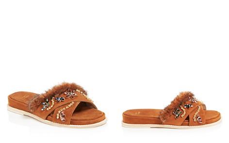 Stuart Weitzman Women's Nomedeplume Suede & Mink Fur Embellished Slide Sandals - Bloomingdale's_2