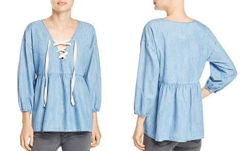 Joie Bealette Lace-Up Chambray Top - Bloomingdale's_2