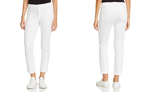 J Brand Ruby High-Rise Cropped Jeans in Blanc - Bloomingdale's_2