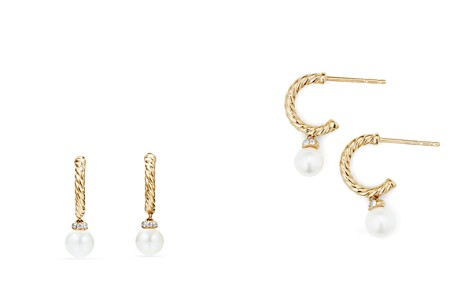 David Yurman Solari Hoop Earrings with Cultured Akoya Pearl & Diamonds in 18K Gold - Bloomingdale's_2