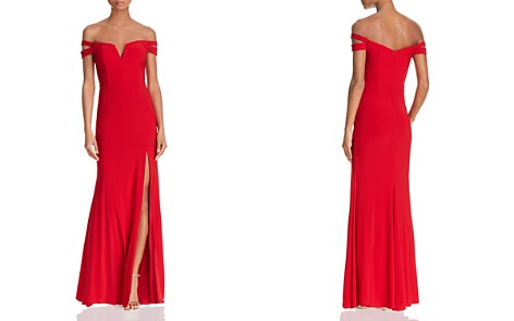 AQUA Double-Strap Off-the-Shoulder Gown - 100% Exclusive - Bloomingdale's_2