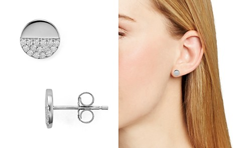 AQUA Sterling Silver Circle Pavé Stud Earrings - 100% Exclusive - Bloomingdale's_2