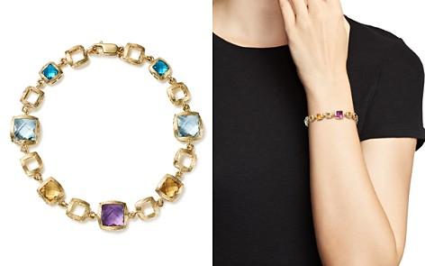 Bloomingdale's Multi Gemstone Square Link Bracelet in 14K Yellow Gold - 100% Exclusive _2