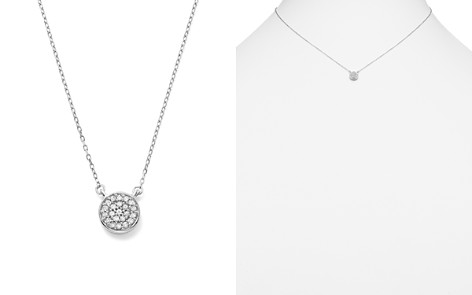 "Adina Reyter 14K White Gold Pavé Diamond Disc Necklace, 15"" - Bloomingdale's_2"