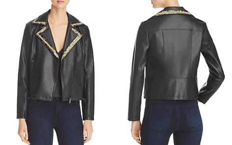 Bagatelle Faux Leather Embellished Lapel Moto Jacket - Bloomingdale's_2
