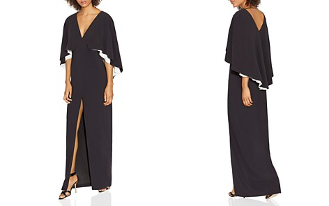 HALSTON HERITAGE Color-Blocked Cape-Sleeve Gown - Bloomingdale's_2