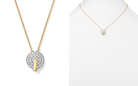 "Roberto Coin 18K White & Yellow Gold Diamond Disk Necklace, 16"" - Bloomingdale's_2"