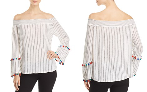NIC+ZOE Striped Pom-Pom Cuff Top - Bloomingdale's_2