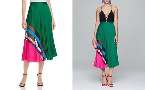 MILLY Pleated Silk Skirt - Bloomingdale's_2