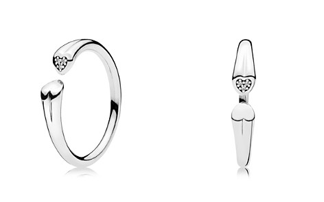 PANDORA Sterling Silver & Cubic Zirconia Two Hearts Open Ring - Bloomingdale's_2
