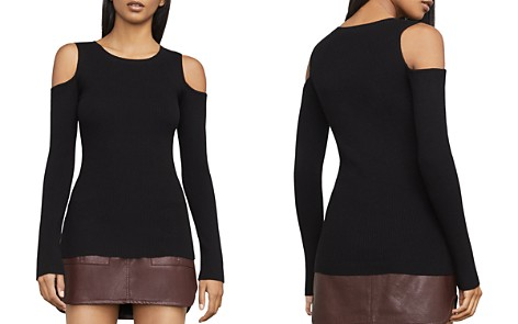 BCBGMAXAZRIA Adaline Cold-Shoulder Rib-Knit Top - Bloomingdale's_2