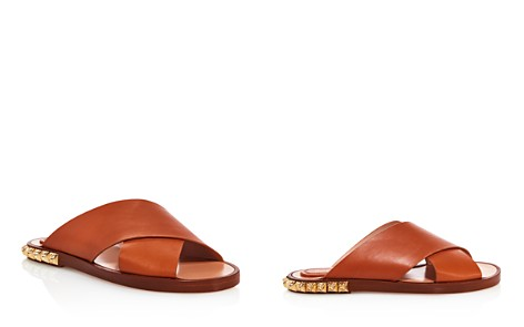 Stuart Weitzman Women's Rockrose Leather Studded Slide Sandals - Bloomingdale's_2