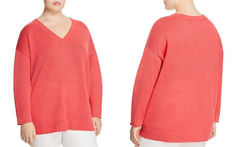 Eileen Fisher Plus Organic-Linen V-Neck Sweater - Bloomingdale's_2