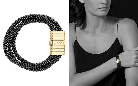 LAGOS Gold & Black Caviar Collection 18K Gold & Ceramic Three Strand Bracelet - Bloomingdale's_2