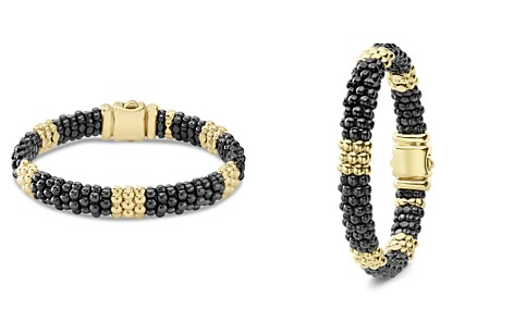 LAGOS Gold & Black Caviar Collection 18K Gold & Ceramic Beaded Five Station Bracelet - Bloomingdale's_2