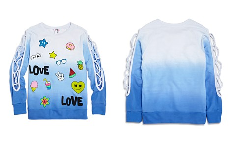Flowers by Zoe Girls' Ombré Love Sweatshirt with Lattice-Cutout Sleeves - Big Kid - Bloomingdale's_2