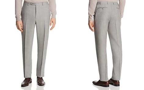Canali Solid Open Micro Box Weave Regular Fit Dress Pants - Bloomingdale's_2