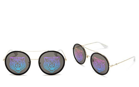Gucci Tiger Round Mirrored Sunglasses, 56mm - Bloomingdale's_2