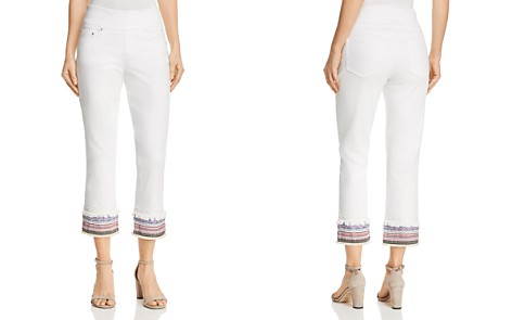 JAG Jeans Peri Embroidered Cuff Straight Ankle Jeans in White - Bloomingdale's_2