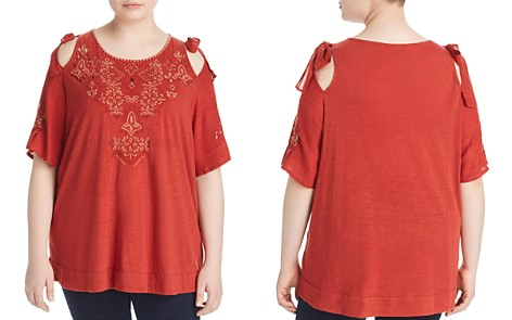 Lucky Brand Plus Embroidered Cold Shoulder Top - Bloomingdale's_2