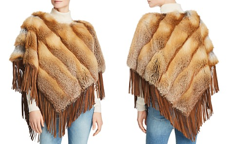 Maximilian Furs Suede-Trim Red Fox Fur Poncho - 100% Exclusive - Bloomingdale's_2