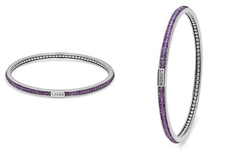 LAGOS Sterling Silver Caviar Icon Amethyst Beaded Bangle Bracelet - Bloomingdale's_2