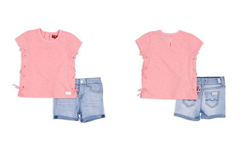 7 For All Mankind Girls' Lace-Up Tee & Cuffed Denim Shorts Set - Little Kid - Bloomingdale's_2