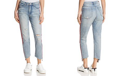 BLANKNYC Striped Distressed Straight-Leg Jeans in Now or Never - Bloomingdale's_2