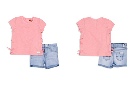 7 For All Mankind Girls' Lace-Up Tee & Shorts Set - Baby - Bloomingdale's_2