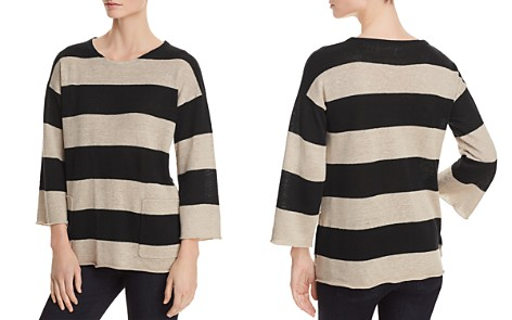 Eileen Fisher Petites Striped Organic Linen Sweater - Bloomingdale's_2