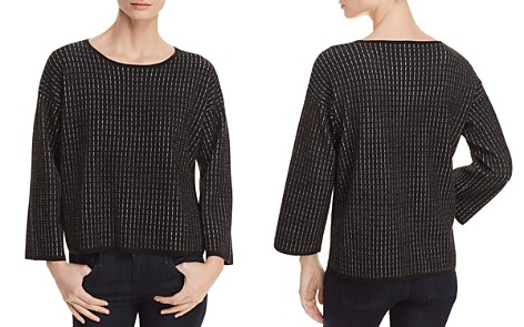Eileen Fisher Textured Line-Print Top - Bloomingdale's_2