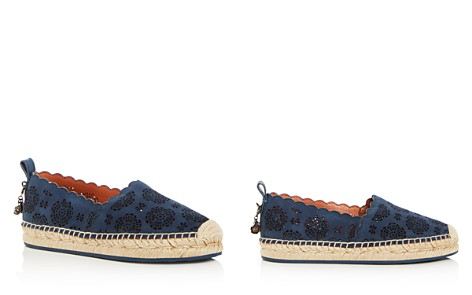 COACH Women's Astor Scalloped Perforated Suede Espadrille Flats - Bloomingdale's_2