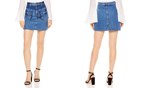 Sandro Fadela Frayed Denim Mini Skirt - Bloomingdale's_2